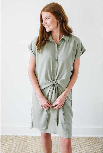 Sammi Olive Button Down Front Tie Dress (final sale)
