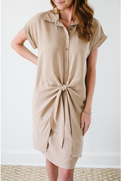 Sammi Taupe Button Down Front Tie Dress