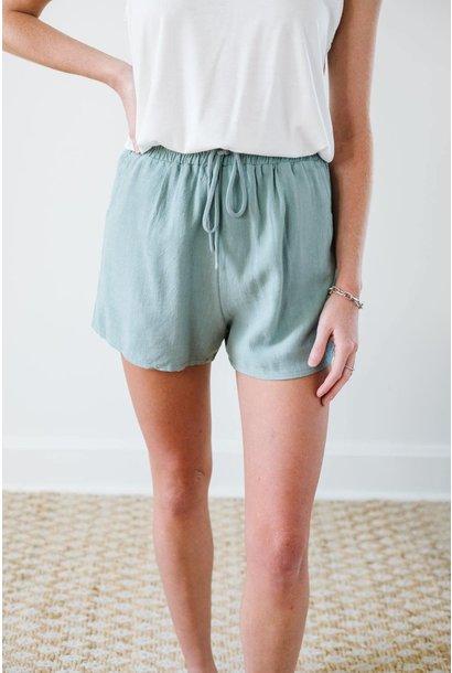 Short Of It Slate Tie Waist Shorts