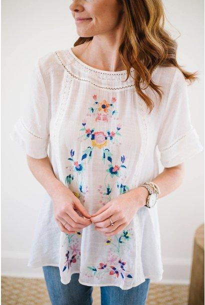 Adella White Embroidered Crochet Trim Top
