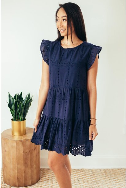 Athena Navy Eyelet Lace Cap Sleeve Dress