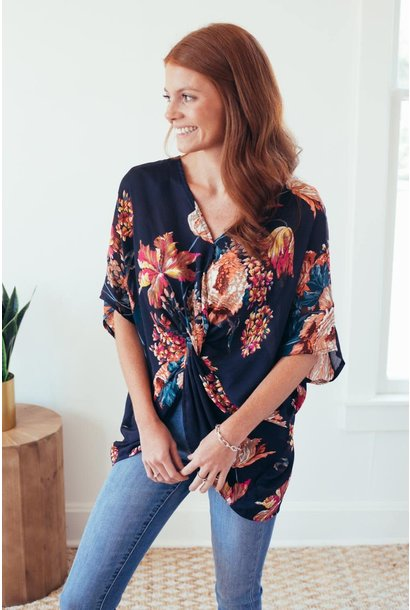 Floral Your Dream Navy Reversible Knot Top (final sale)