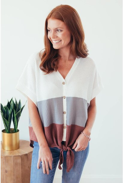 Wind Down Ivory Color Block Waffle Knit Top (final sale)