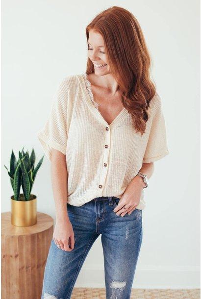 Fond Of You Cream Lace Trim Knit Top (final sale)