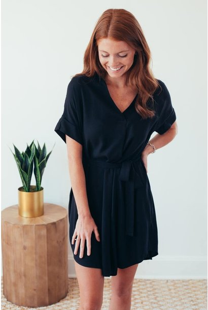 Noteworthy Basic Black Tie Waist Dress