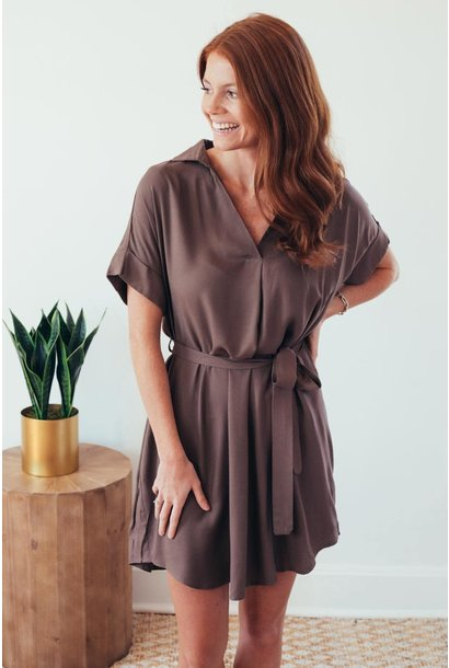 Noteworthy Basic Mocha Tie Waist Dress