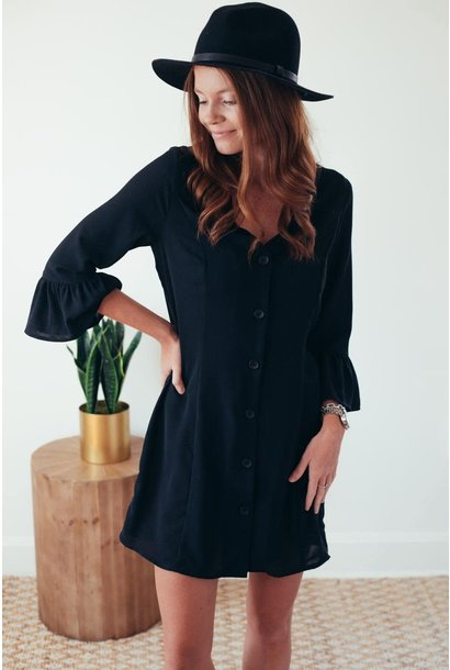 Work To Weekend Black Ruffle Sleeve Dress