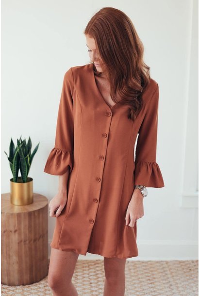 Work To Weekend Rust Ruffle Sleeve Dress