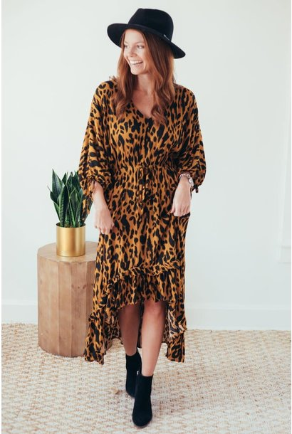 Wild Side Animal Print Midi Ruffle Hem Dress
