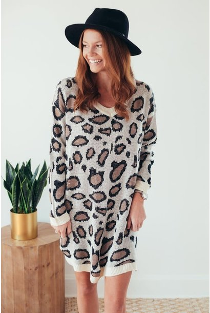 Prowl Power Leopard Print Sweater Dress