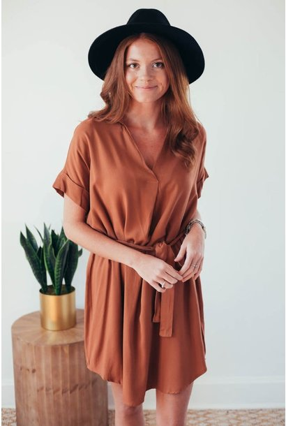 Noteworthy Basic Cinnamon Tie Waist Dress