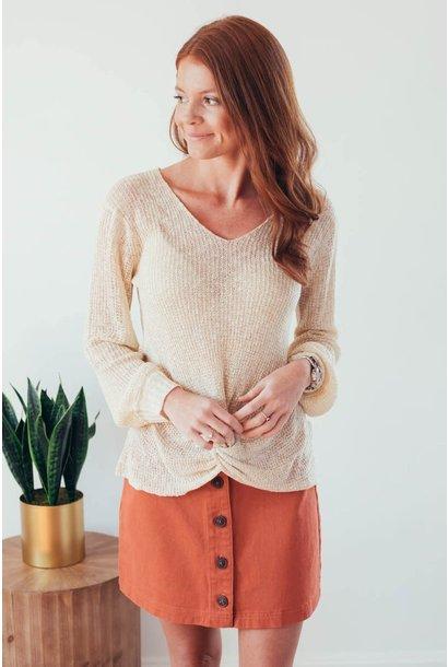 Fall Twist Oatmeal V-Neck Sweater