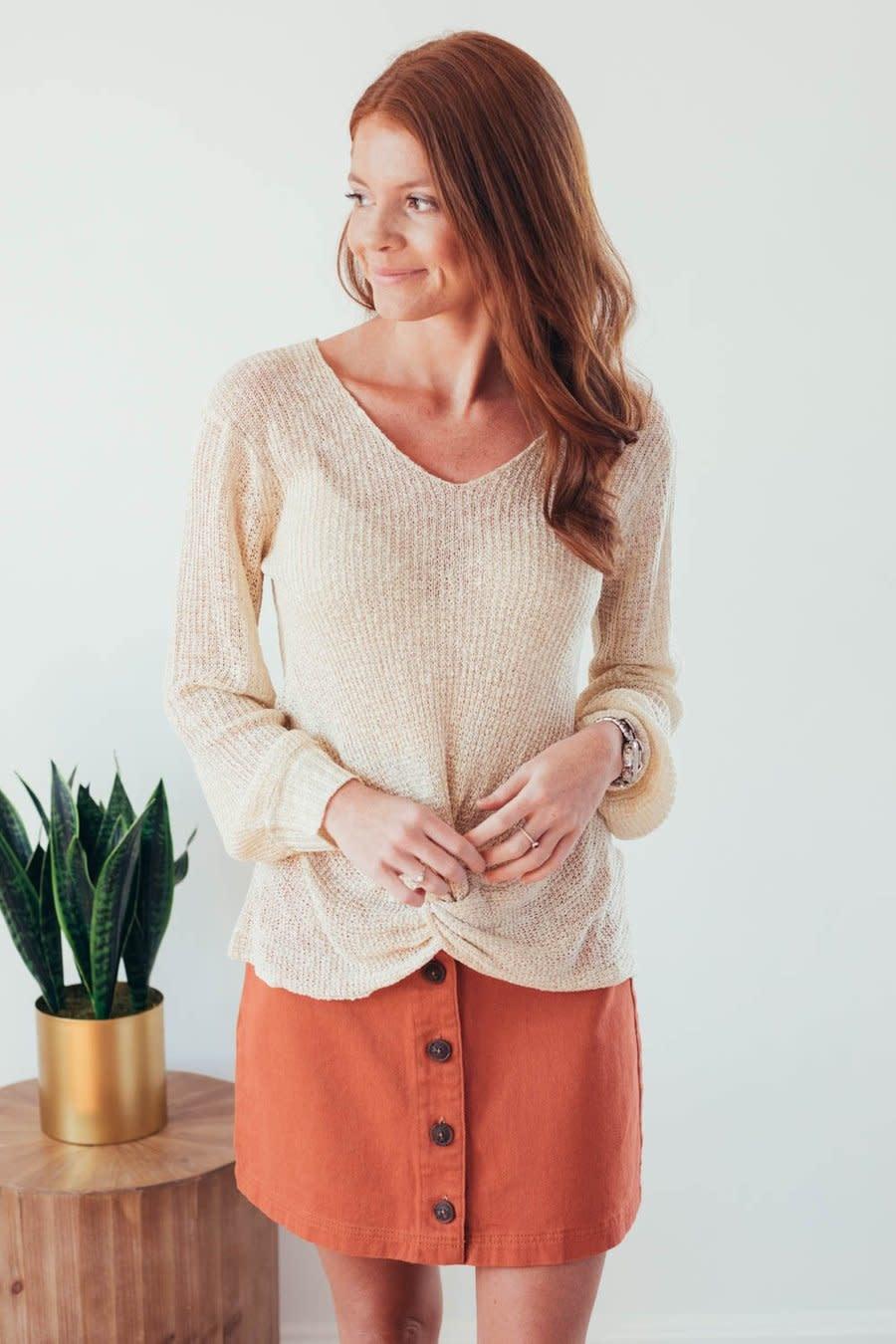 Fall Twist Oatmeal V-Neck Sweater-1