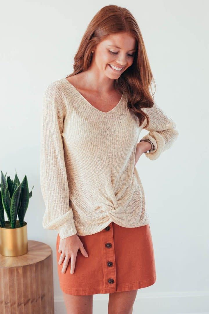 Fall Twist Oatmeal V-Neck Sweater-3