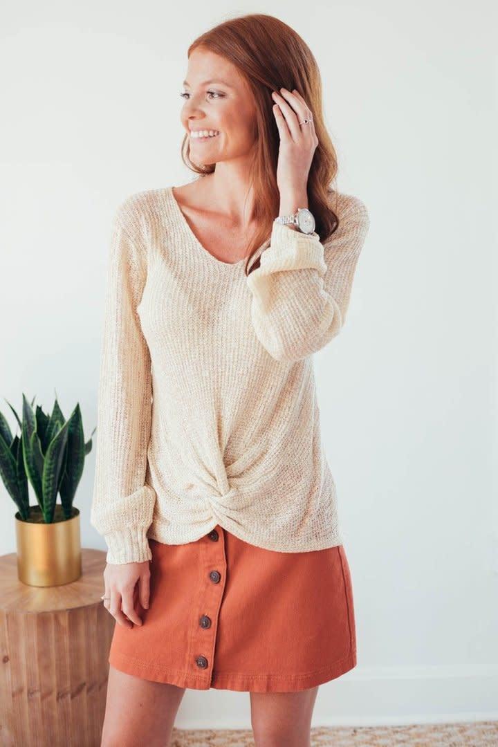 Fall Twist Oatmeal V-Neck Sweater-5