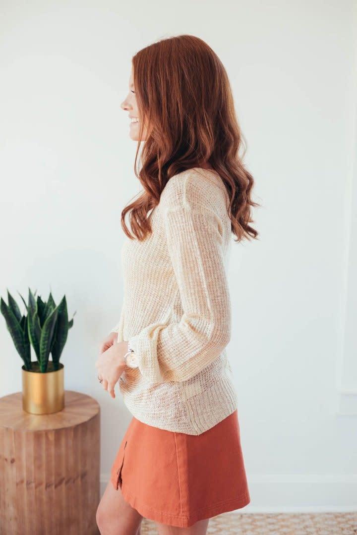Fall Twist Oatmeal V-Neck Sweater-6