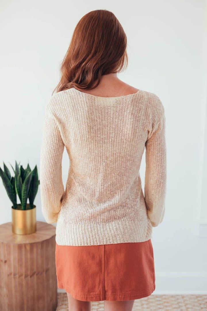 Fall Twist Oatmeal V-Neck Sweater-7