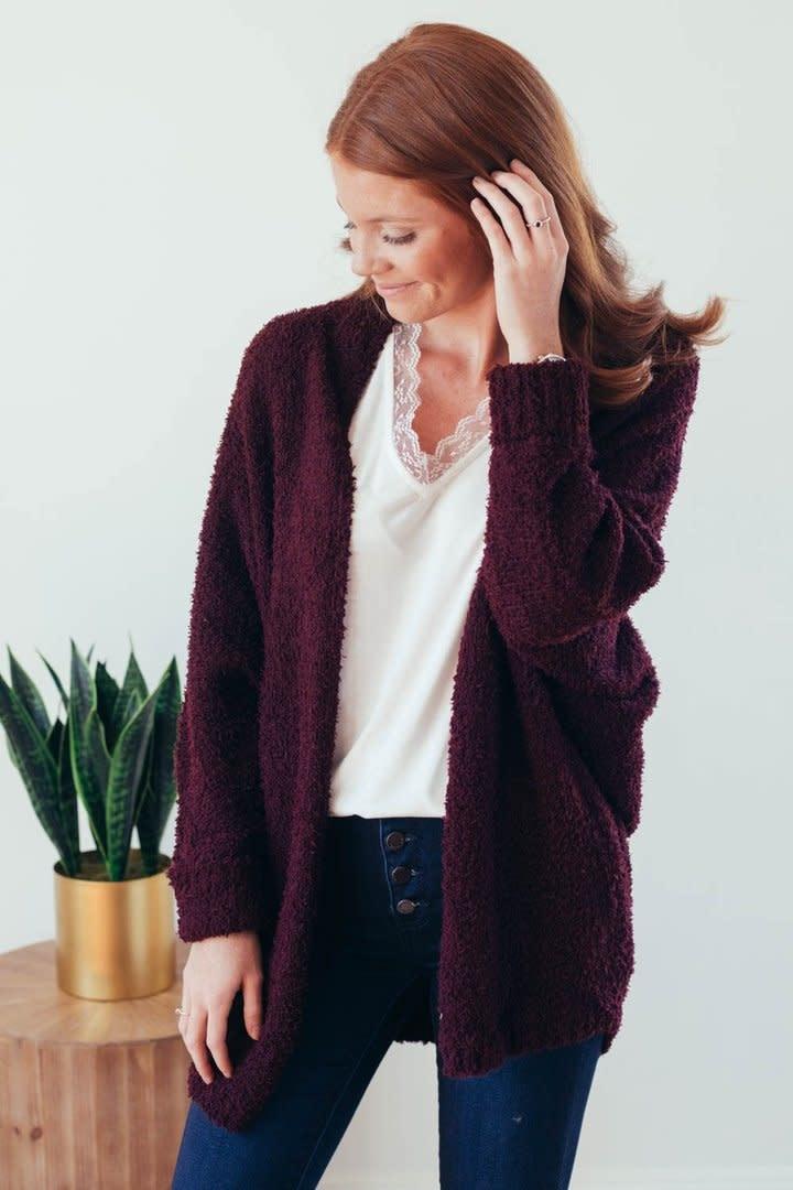 Warming Up Burgundy Popcorn Sweater Cardigan-4