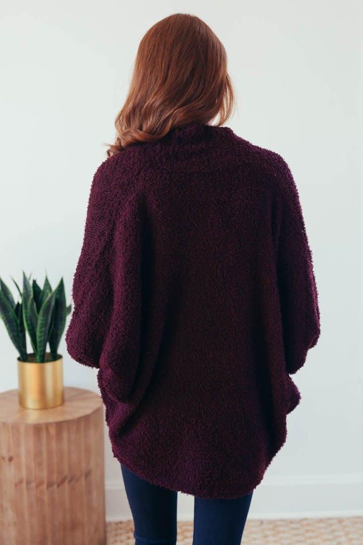 Warming Up Burgundy Popcorn Sweater Cardigan-7