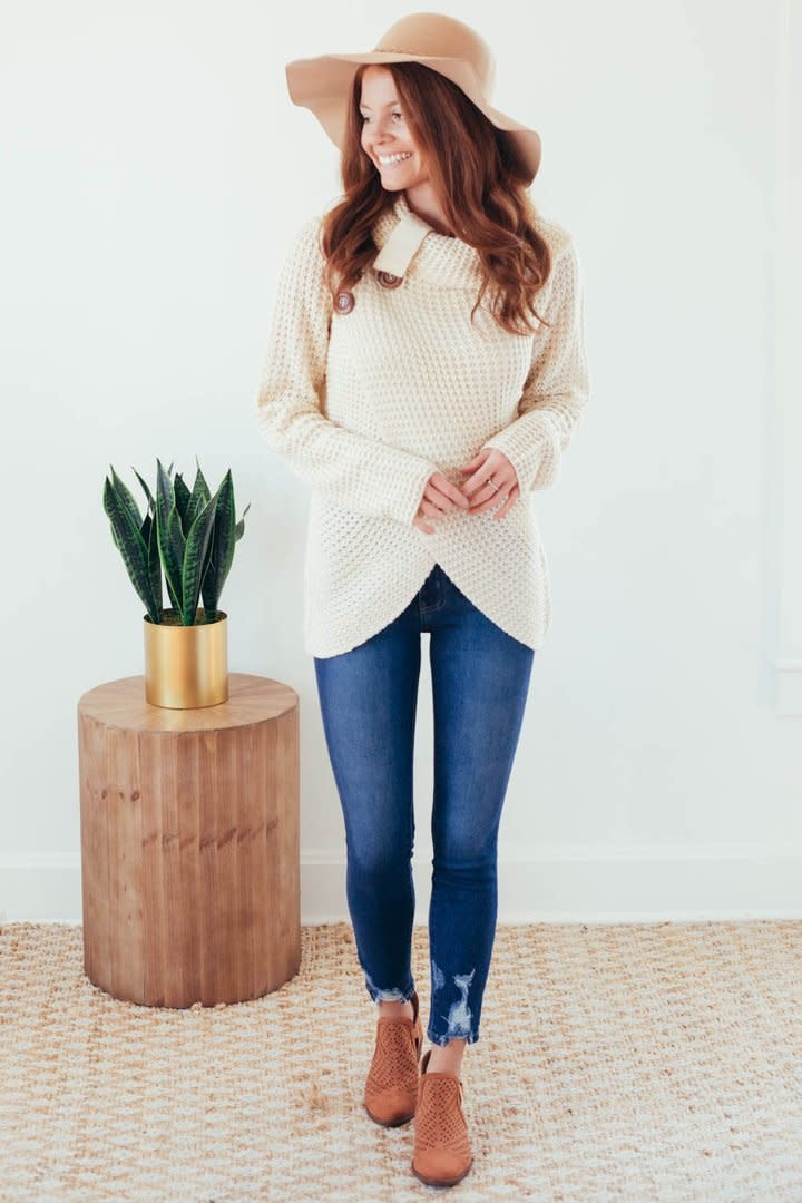 Changing Seasons Oatmeal Crossover Button Knit Top-2