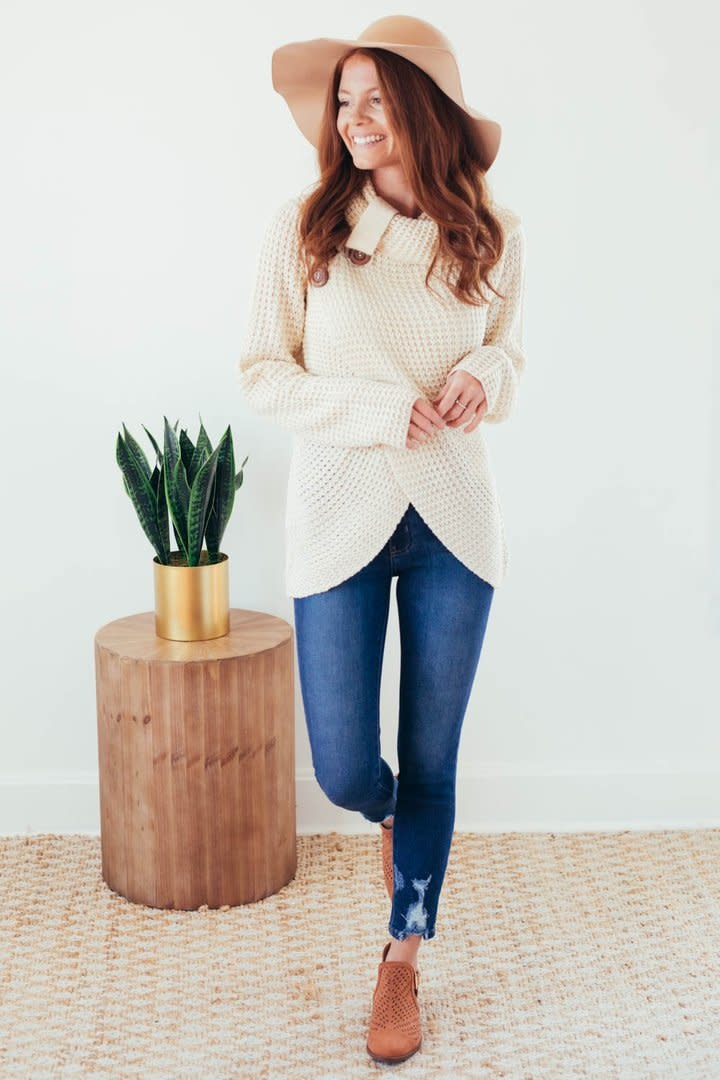 Changing Seasons Oatmeal Crossover Button Knit Top-3