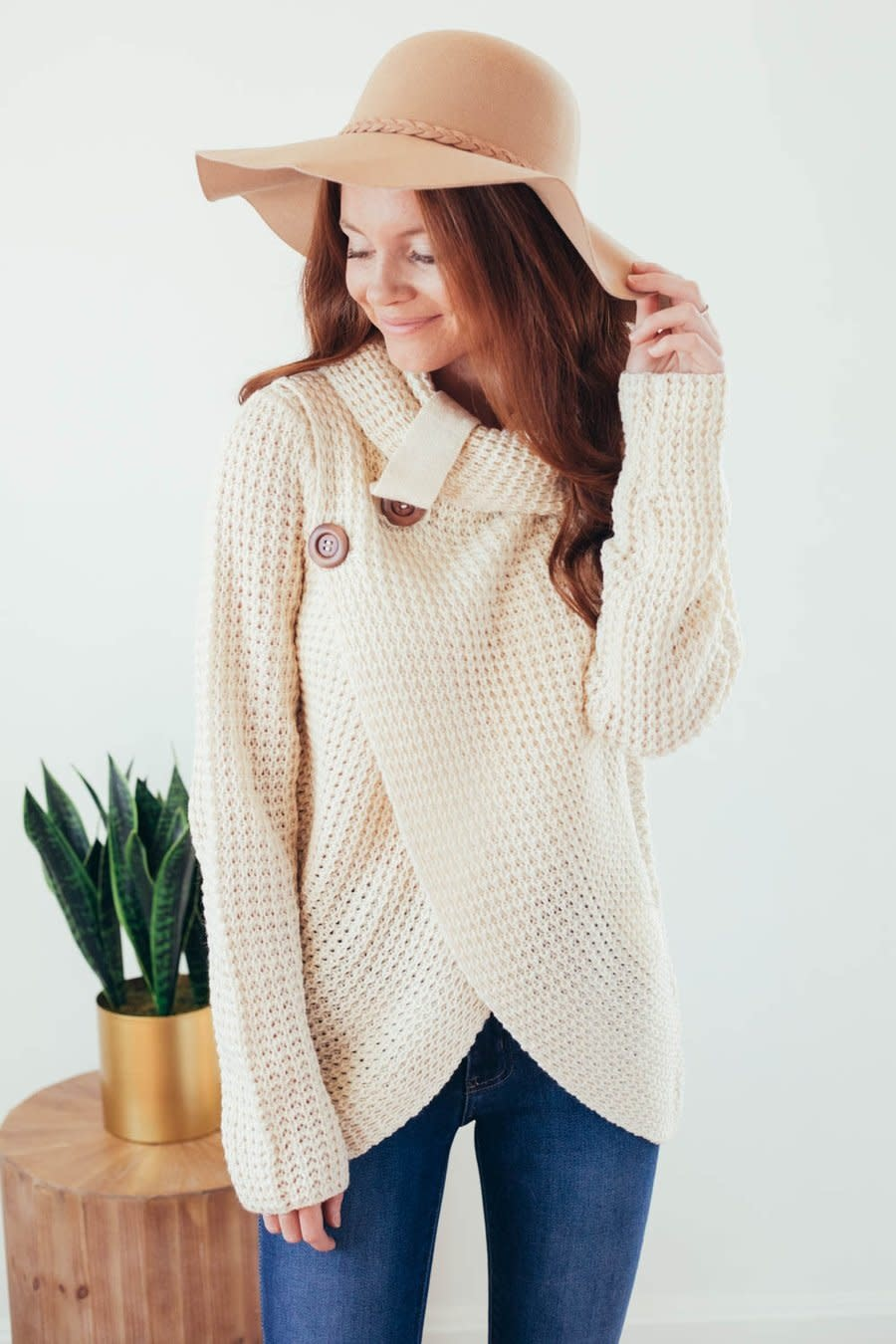 Changing Seasons Oatmeal Crossover Button Knit Top-1