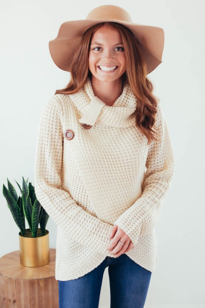 Changing Seasons Oatmeal Crossover Button Knit Top-4