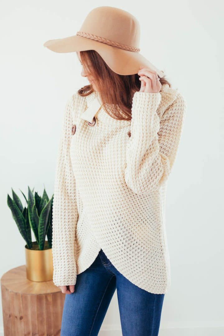 Changing Seasons Oatmeal Crossover Button Knit Top-5