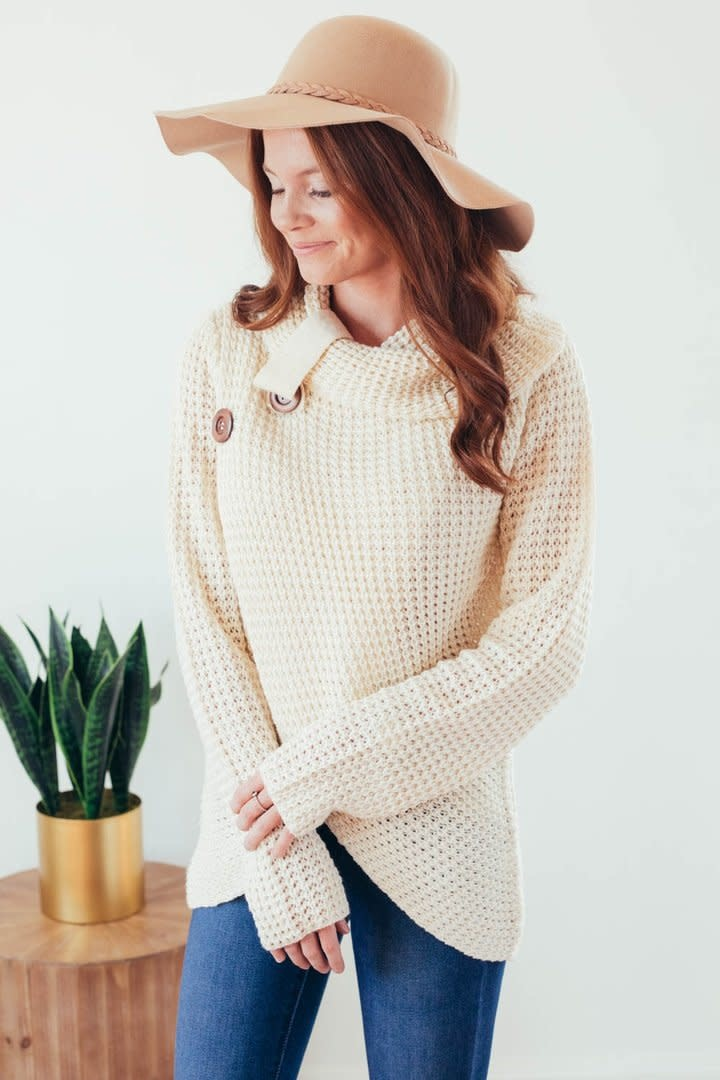 Changing Seasons Oatmeal Crossover Button Knit Top-6