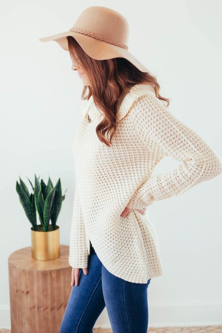 Changing Seasons Oatmeal Crossover Button Knit Top-7