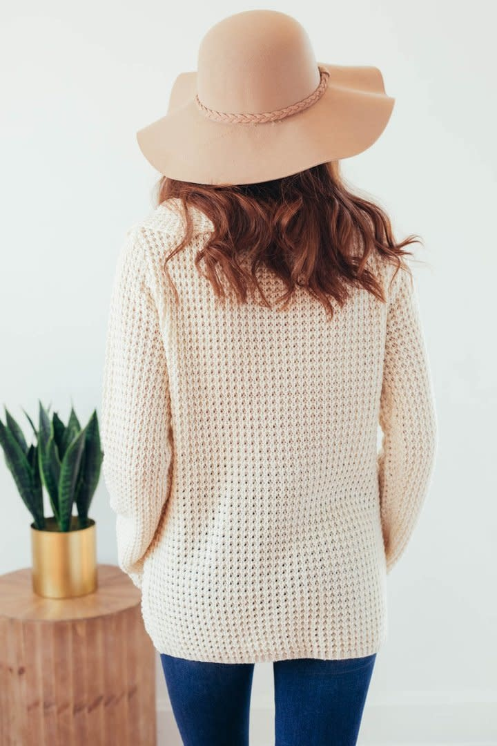 Changing Seasons Oatmeal Crossover Button Knit Top-8