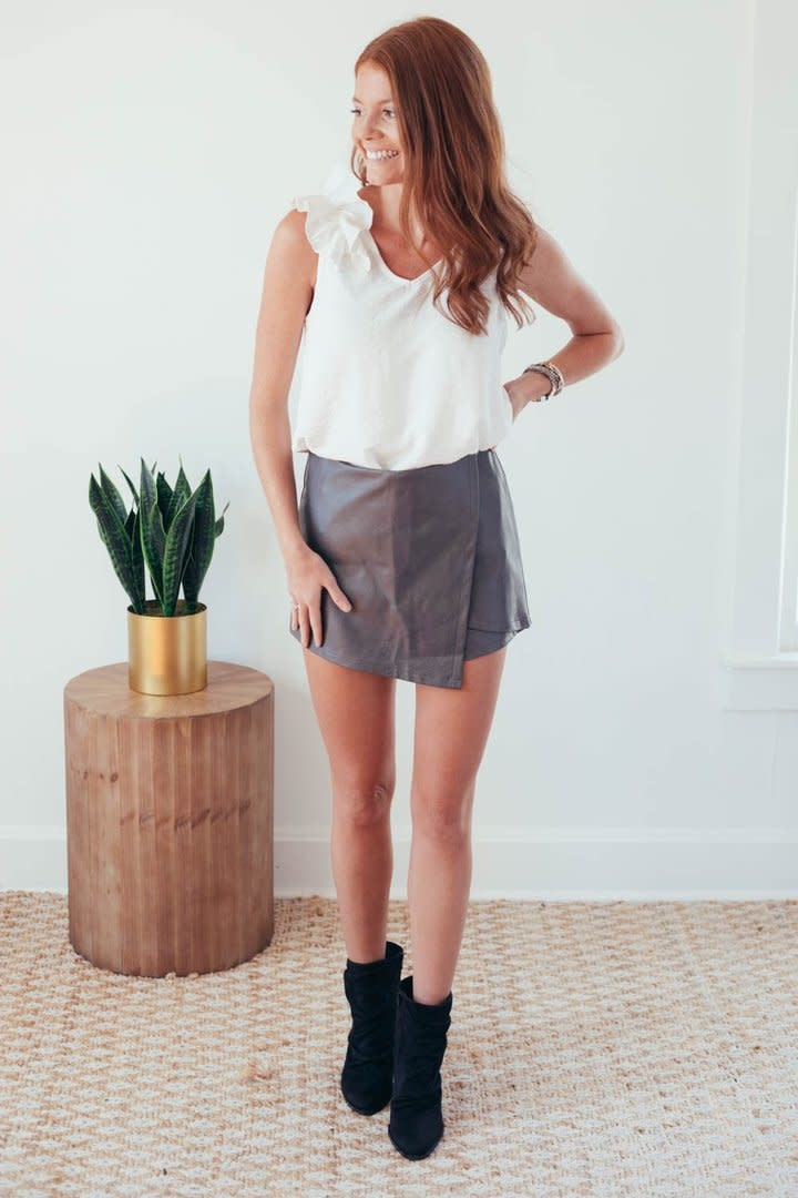 Molly Grey Faux Leather Wrap Shorts-3