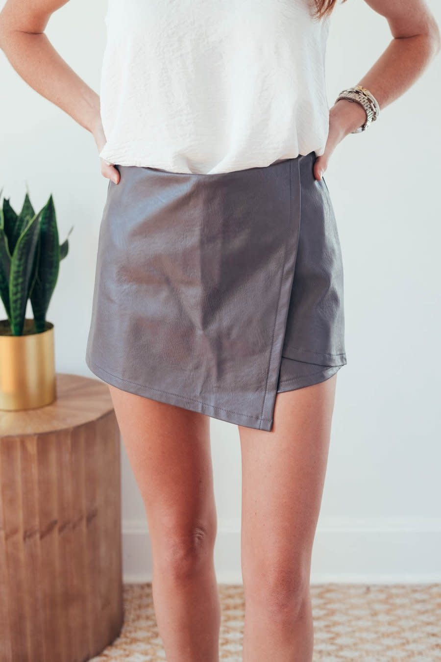 Molly Grey Faux Leather Wrap Shorts-2