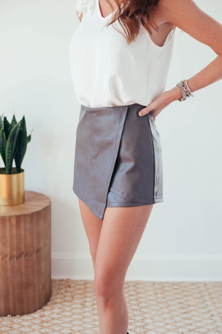 Molly Grey Faux Leather Wrap Shorts-1