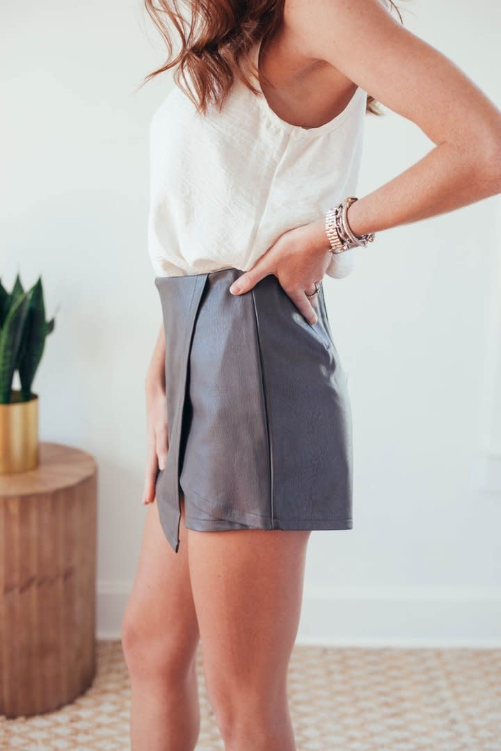 Molly Grey Faux Leather Wrap Shorts-4