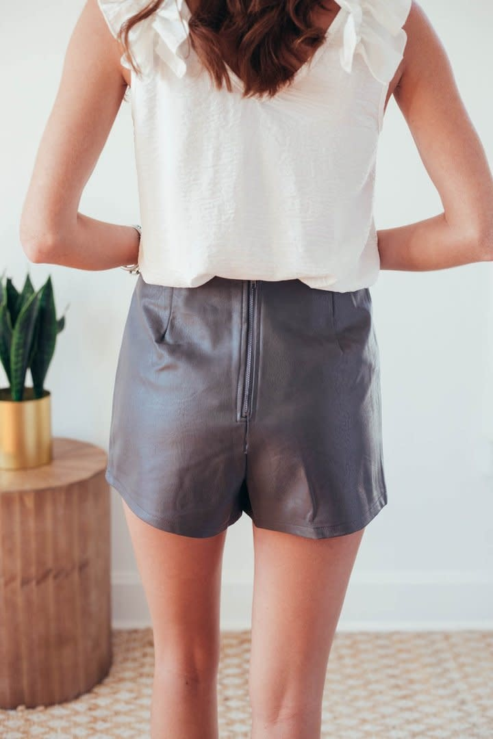 Molly Grey Faux Leather Wrap Shorts-5