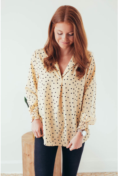 Dot Worry About It Cream Polka Dot Blouse