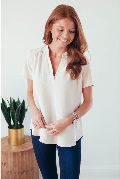 It's Just Simple Oatmeal V-Neck Blouse