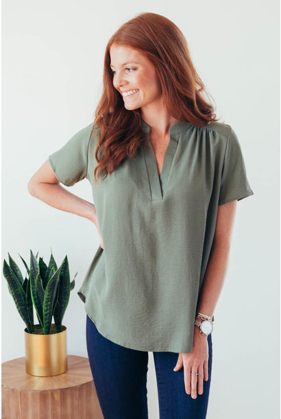 It's Just Simple Olive V-Neck Blouse
