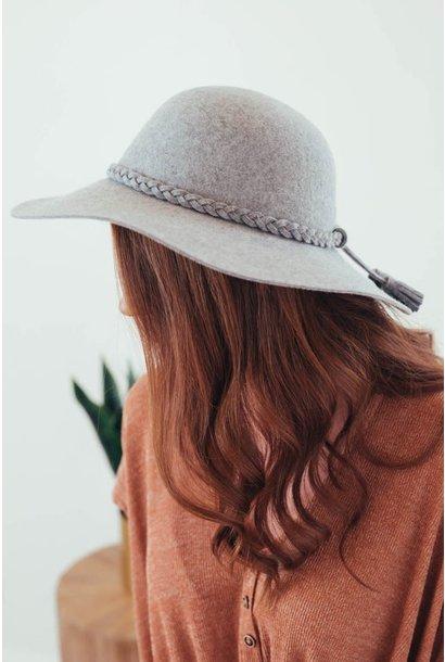 Melange Grey Wool Felt Floppy Hat