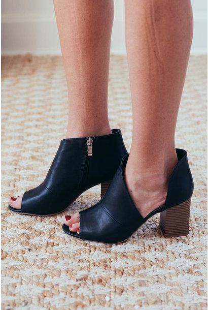 Vera Black Peep Toe Open Shank Booties