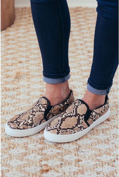 Reece Brown Snake Skin Step In Sneakers
