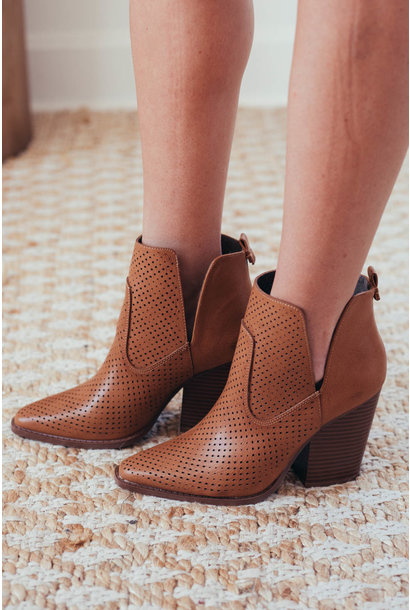 Aster Camel Perforated Side Slit Booties
