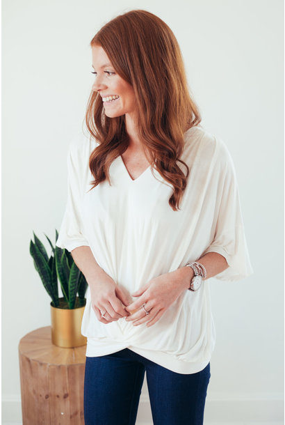 Tabitha White Short Bell Sleeve Gathered Front Top