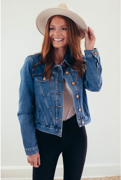 Bye Bye Blues Medium Wash Cropped Denim Jacket