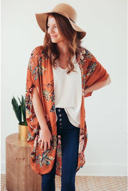 Panama Sunset Floral Mix Open Front Kimono
