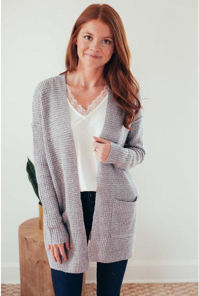 Catrina Grey Open Front Waffle Knit Cardigan