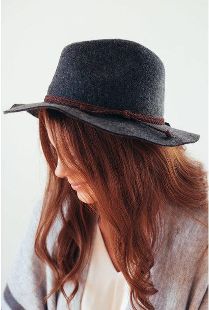 Dark Grey Medium Wool Felt Panama Hat