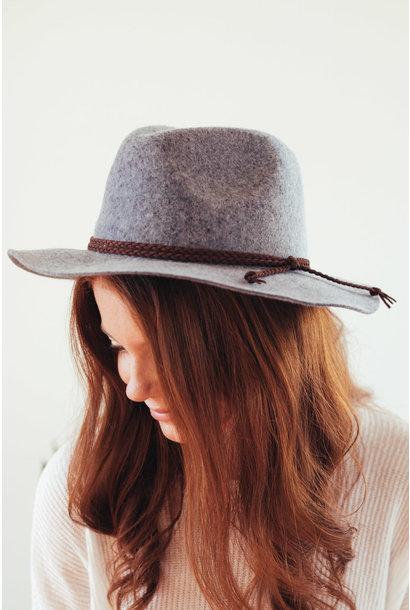 Light Grey Medium Wool Felt Panama Hat