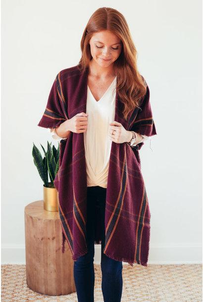 More Than Warmth Burgundy Window Pane Kimono
